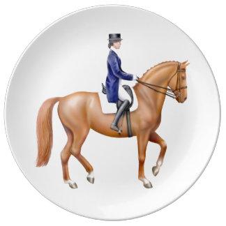 Dressage Horse at Show Porcelain Plate