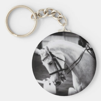 Dressage Horse Black and White Keychain