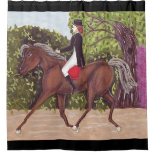 Dressage Horse English Style Riding Shower Curtain