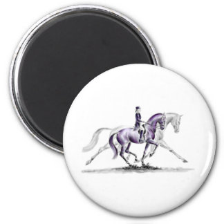 Dressage Horse in Trot Piaffe 2 Inch Round Magnet