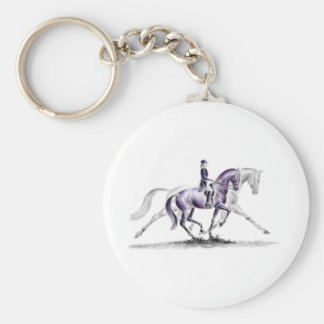 Dressage Horse in Trot Piaffe Basic Round Button Keychain