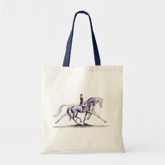 Dressage Horse in Trot Piaffe Budget Tote Bag