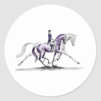 Dressage Horse in Trot Piaffe Classic Round Sticker