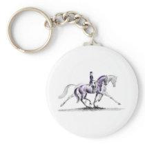 Dressage Horse in Trot Piaffe Keychain