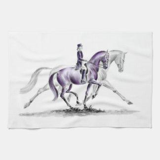 Dressage Horse in Trot Piaffe Kitchen Towel