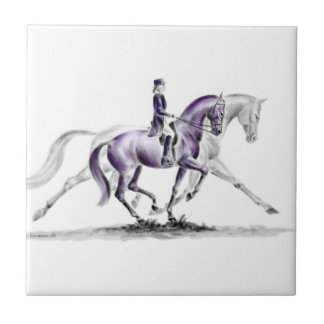 Dressage Horse in Trot Piaffe Small Square Tile