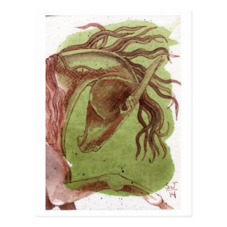 Dressage Horse On Serpentine Green Watercolor Postcard