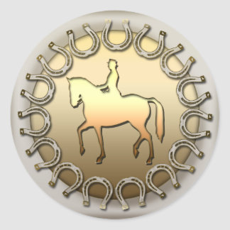 Dressage Horse Rider and Horseshoes Classic Round Sticker