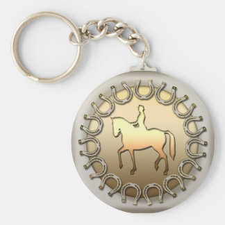 Dressage Horse Rider and Horseshoes Basic Round Button Keychain