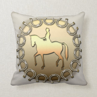 Dressage Horse Rider and Horseshoes Pillow