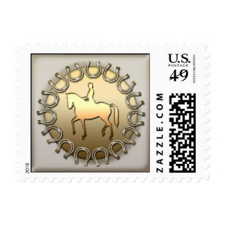 Dressage Horse Rider and Horseshoes Postage Stamp
