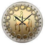 Dressage Horse Rider and Horseshoes Round Clock