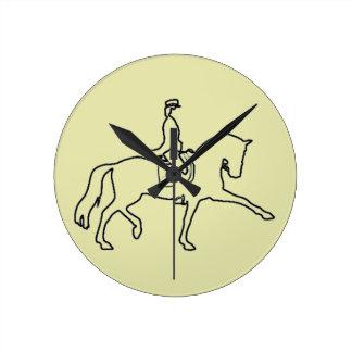 Dressage Horse & Rider Line Art Round Clock