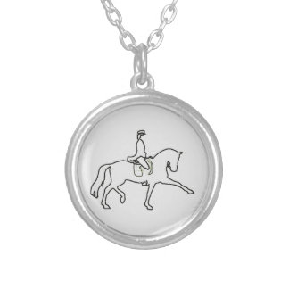 Dressage Horse & Rider Line Art Silver Plated Necklace