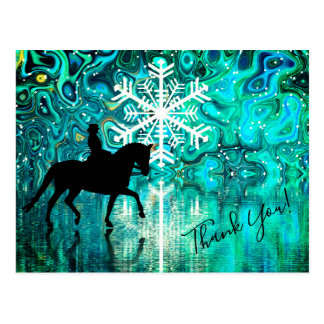 Dressage Horse, Rider Winter Snowflake Thank You Postcard