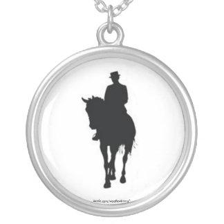 Dressage Horse Silhouette Round Pendant Necklace