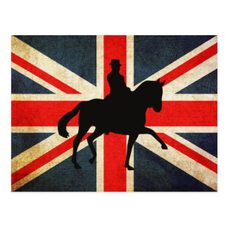 Dressage Horse with Union Jack Flag Post Card