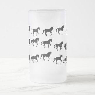 Dressage Horses Piaffe Pattern Frosted Glass Beer Mug