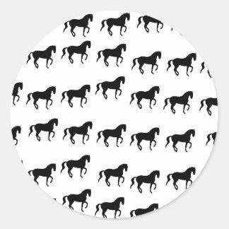 Dressage Horses Piaffe Pattern Classic Round Sticker