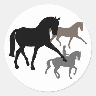 Dressage Horses Trio Classic Round Sticker
