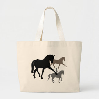 Dressage Horses Trio Large Tote Bag