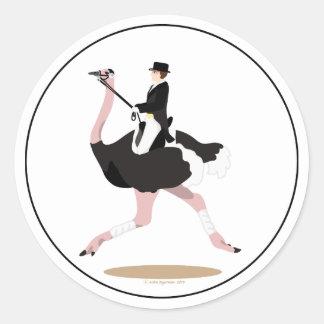 Dressage Ostrich Classic Round Sticker