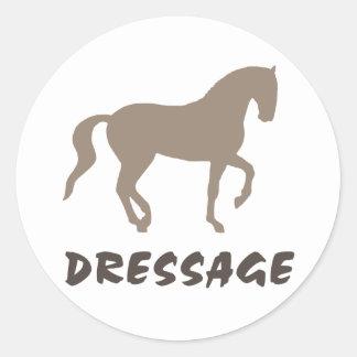 Dressage (piaffe horse & text) classic round sticker