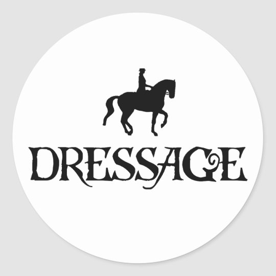 Dressage (Pirate Style Text w/ Piaffe)) Classic Round Sticker