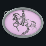 "Dressage Pirouette Equestrian Belt Buckle<br><div class=""desc"">Show off a little color with your belt buckle! Western belt buckle with a little extra flash and style...  why be normal when you can have a horse buckle as unique and original as this?</div>"
