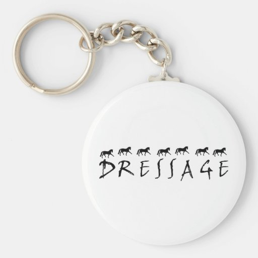 Dressage (text and horses) key chain