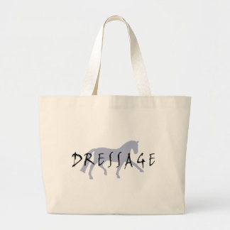 Dressage Trot w/ Text (blue) Tote Bags