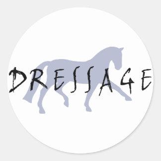 Dressage Trot w/ Text (blue) Classic Round Sticker
