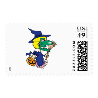 dressed as a witch kid cartoon postage stamps