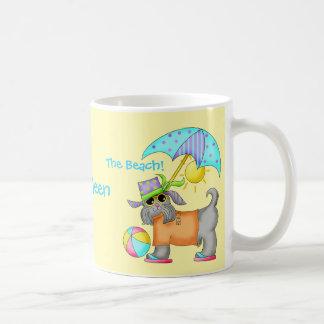 Dressed Beach Dog Personalized Yellow Coffee Mug