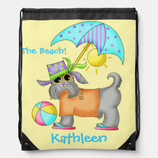 Dressed Beach Dog Personalized Yellow Drawstring Backpack