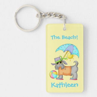 Dressed Beach Dog Personalized Yellow Keychain