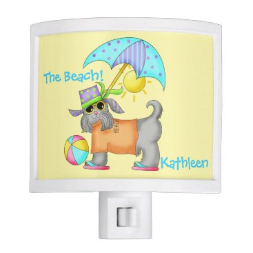 Beach Themed Dressed Beach Dog Personalized Yellow Night Light