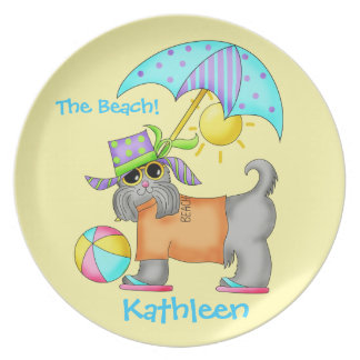 Dressed Beach Dog Personalized Yellow Plate