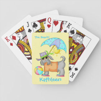 Dressed Beach Dog Personalized Yellow Playing Cards