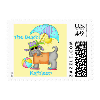 Dressed Beach Dog Personalized Yellow Postage Stamps