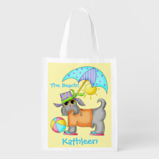 Dressed Beach Dog Personalized Yellow Reusable Grocery Bag