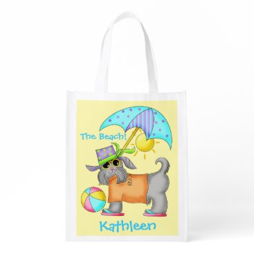 Beach Themed Dressed Beach Dog Personalized Yellow Reusable Grocery Bag