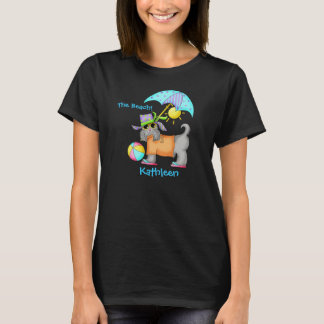 Dressed Beach Dog Personalized Yellow T-Shirt