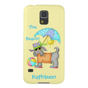 Beach Themed Dressed Beach or Pool Dog Yellow Name Personalized Galaxy S5 Cover
