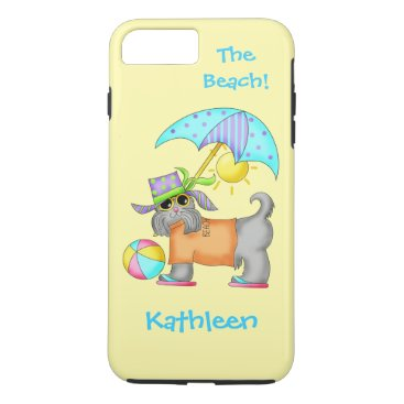 Beach Themed Dressed Beach or Pool Dog Yellow Name Personalized iPhone 7 Plus Case