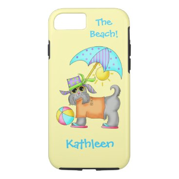 Beach Themed Dressed Beach or Pool Dog Yellow Name Personalized iPhone 8/7 Case
