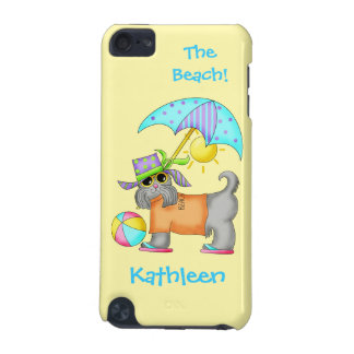 Dressed Beach or Pool Dog Yellow Name Personalized iPod Touch (5th Generation) Cover