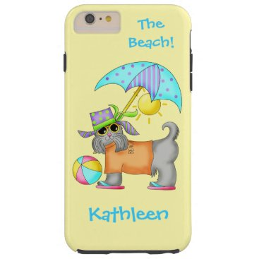 Beach Themed Dressed Beach or Pool Dog Yellow Name Personalized Tough iPhone 6 Plus Case