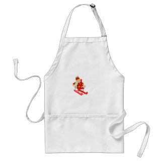 Dressed Christmas bear on red wooden sleigh Adult Apron