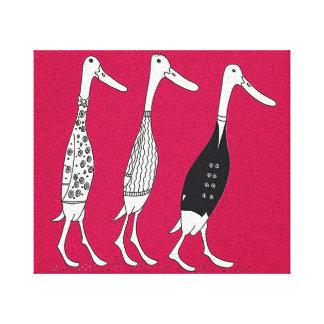 Dressed ducks canvas print